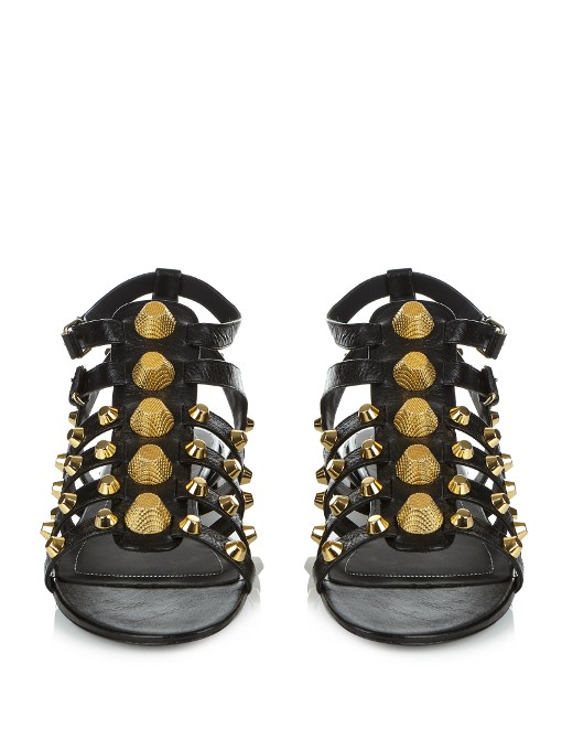 Black Gladiator Flat Sandals - Gold Studs