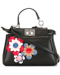 Fendi Black with Flowers Micro Peekaboo Bag