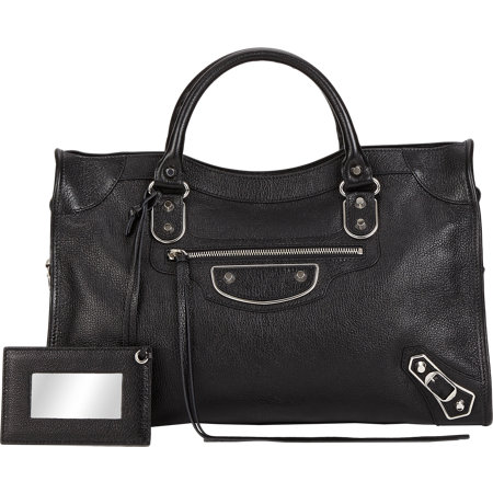 Black w/Silver Metallic Edge City - Chevre leather