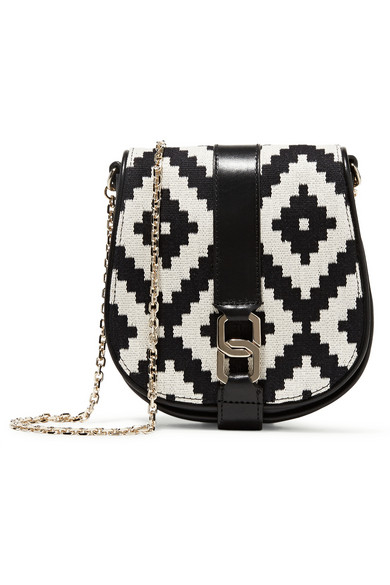 Baptista woven cotton and leather shoulder bag