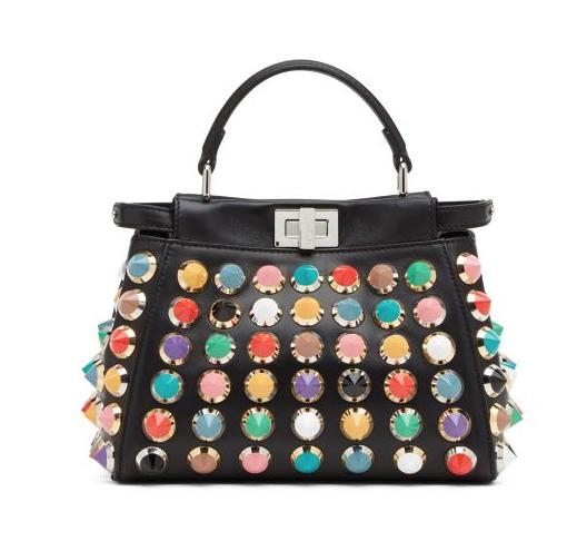 Peekaboo mini studded leather satchel