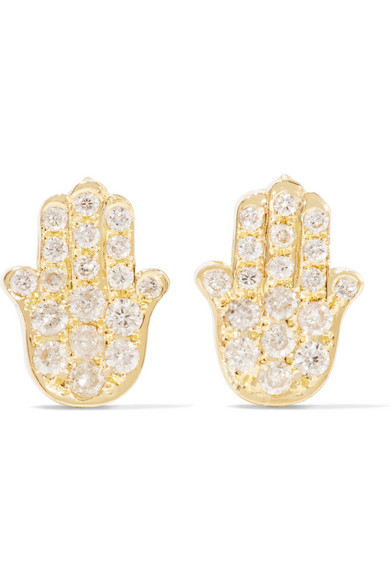 Mini Hamsa 18-karat gold and diamond earrings