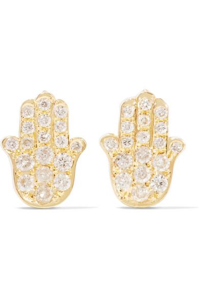 Mini Hamsa 18-karat gold and diamond earrings