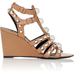 Balenciaga Beige Gladiator Wedge Sandals - Silver Studs