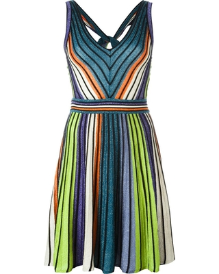 Metallic striped open back dress