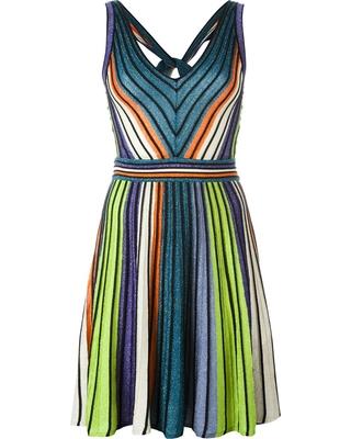 Metallic striped open back dress