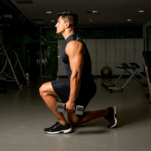 Gym Workout with Dumbbell Lunge