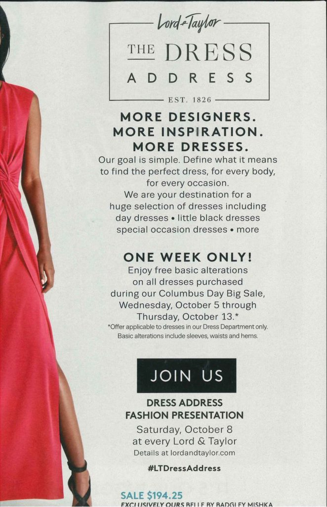 Dress Address Event At Lord Taylor This Saturday 108 12pm 2pm
