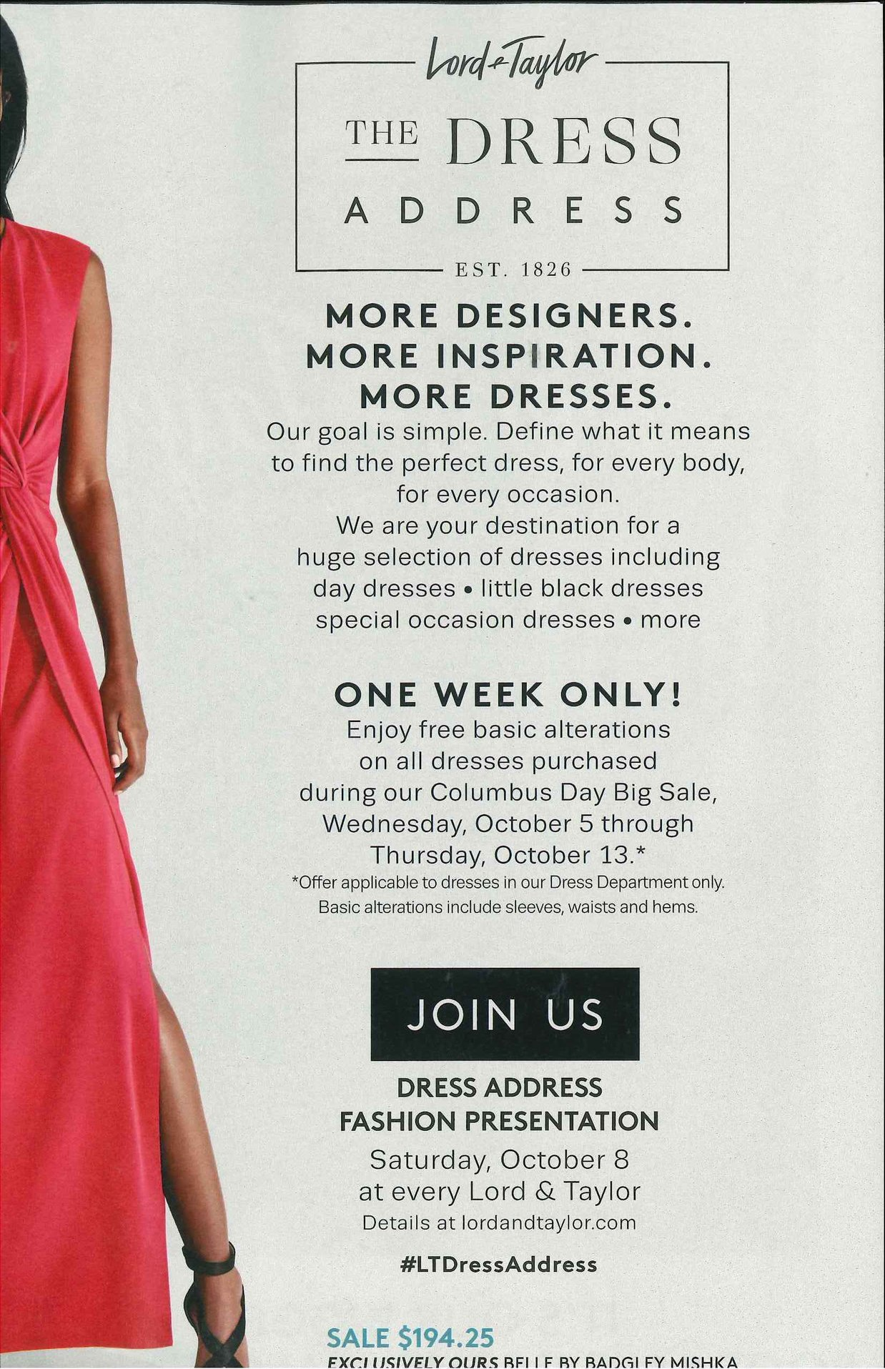 Dress Address Event At Lord & Taylor THIS SATURDAY 10/8 @ 12PM-2PM hosted by GG!