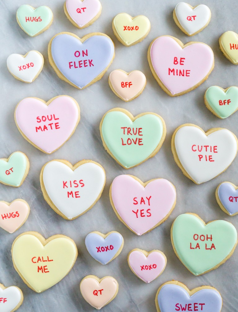 DIY: Conversation heart cookies