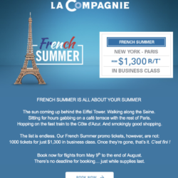 1000 tickets at $1,300 for this summer with La Compagnie!