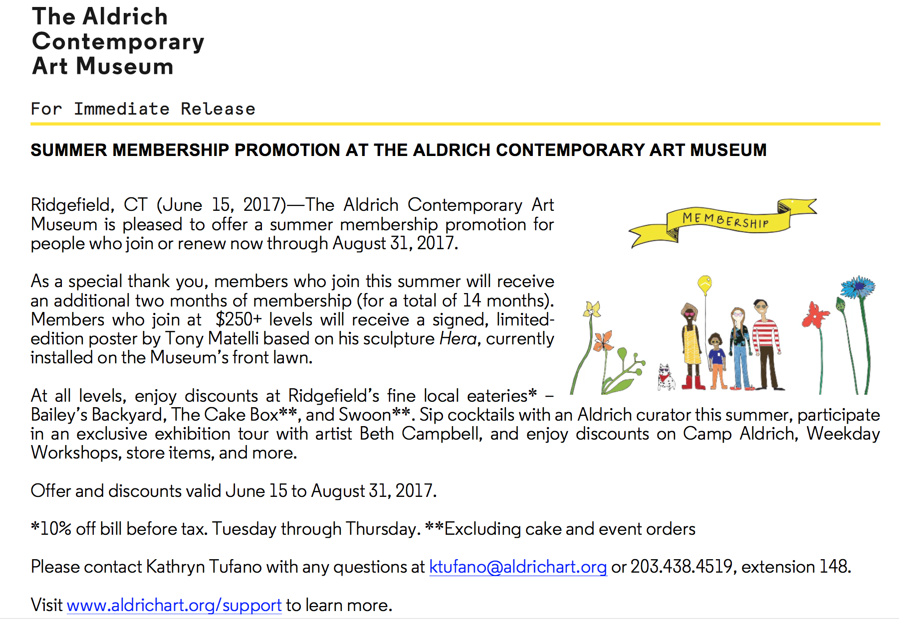 Summer Member Promotion at The Aldrich