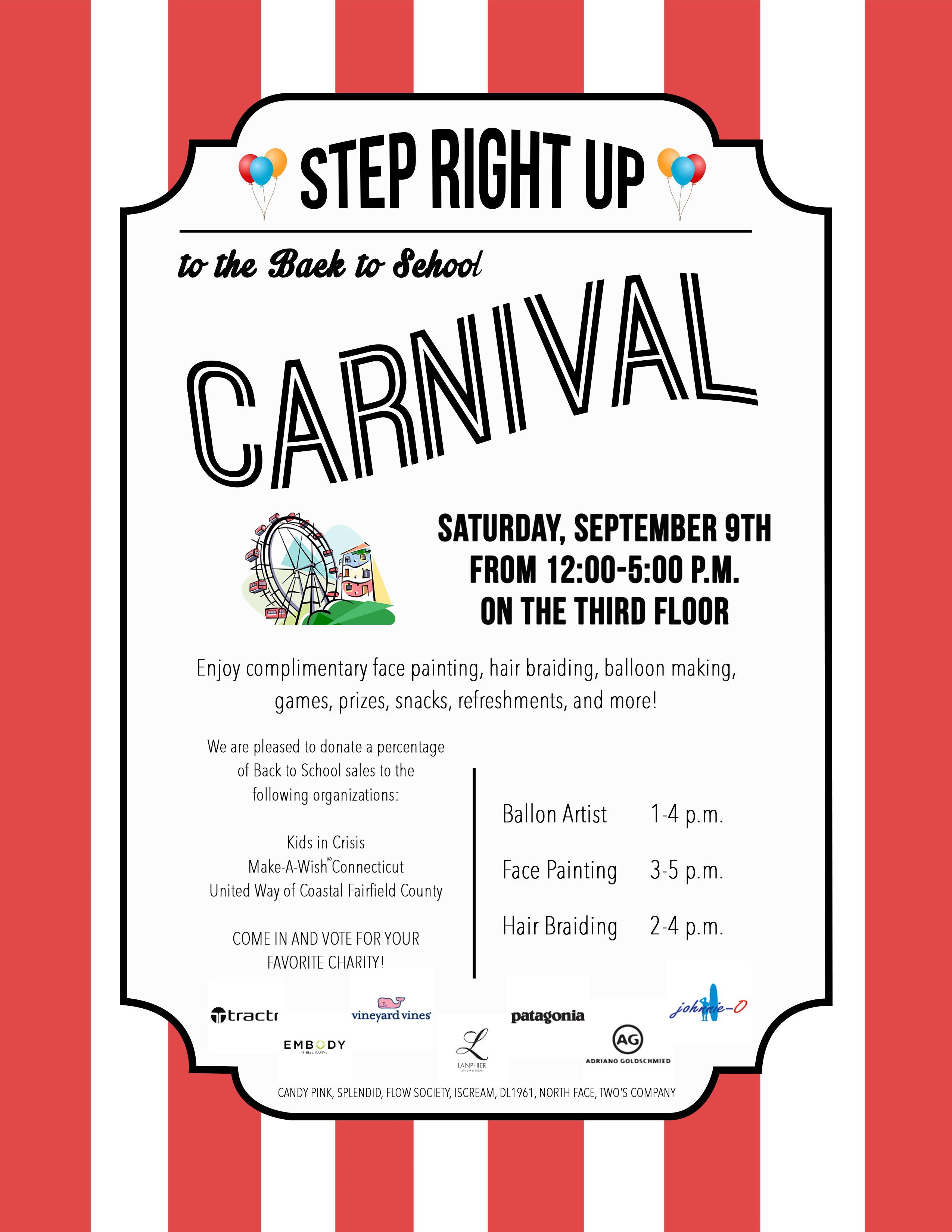 Carnival to benefit Kids in Crisis, Make-A-Wish Connecticut and United Way of Coastal Fairfield County