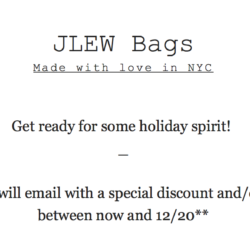 Cyber Monday starts NOW at JLEW Bags